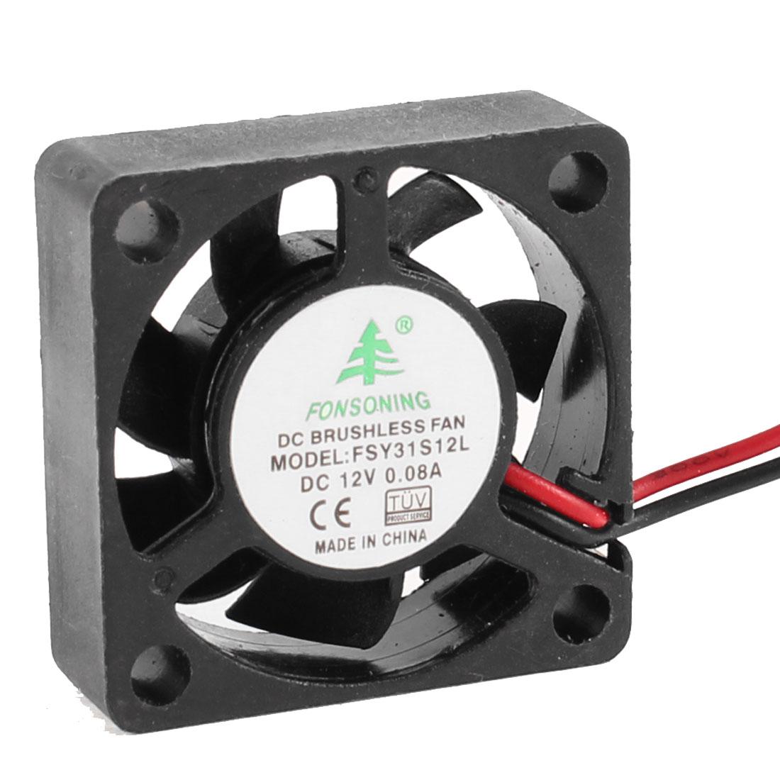 30mm x 30mm x 10mm 2 Terminal DC 12V Sleeve Bearing 6000RPM Cooling Fan Black
