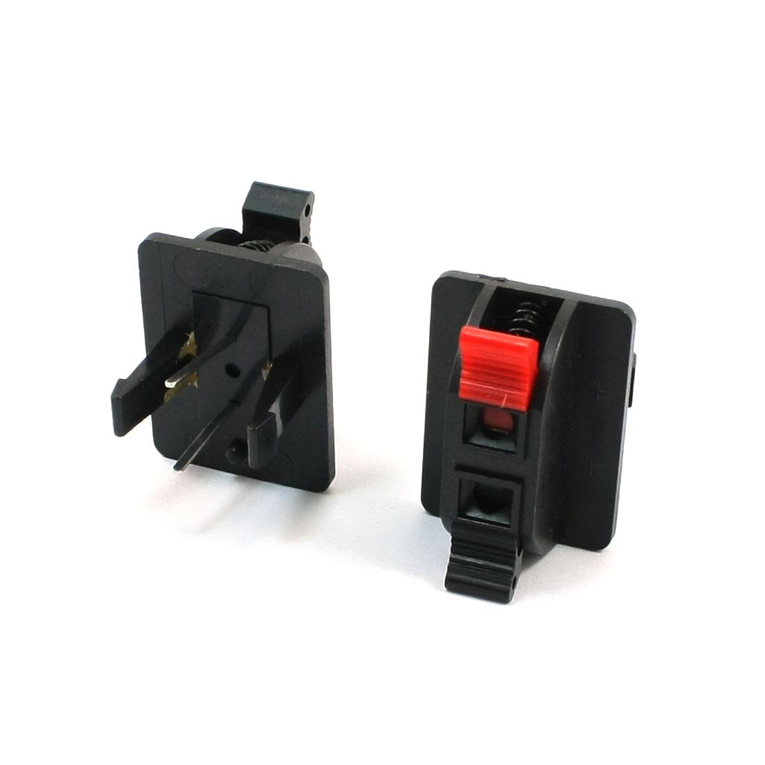 2pcs Red Black Push Type 2 Positon Speaker Terminal Connector 2 Terminal 40 x 30mm