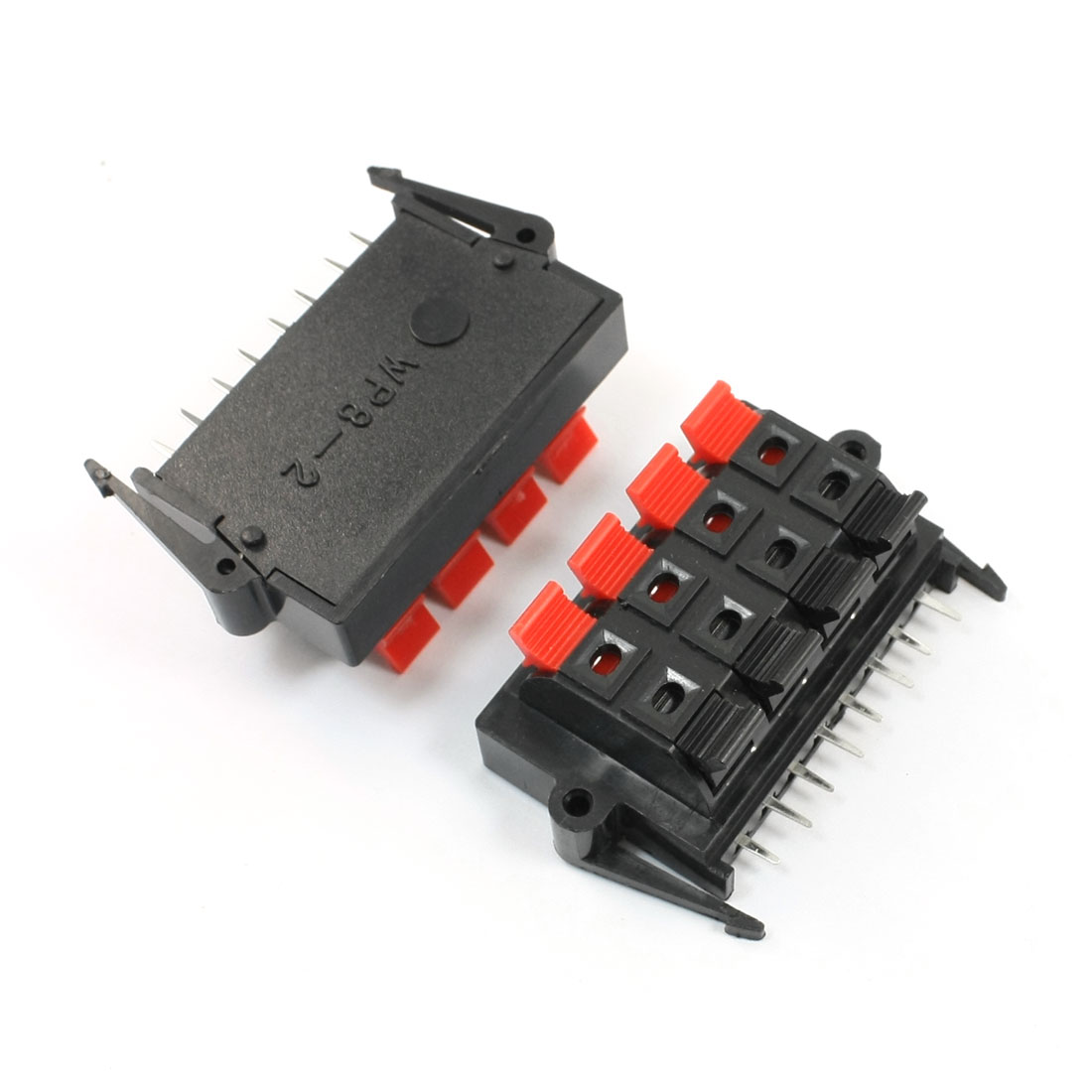 2Pcs Double Row Spring Loaded Clamping Speaker Terminal 8 Positon 8 Pin