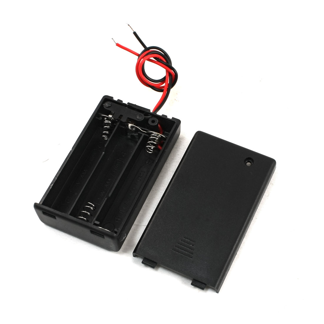 2Pcs ON/OFF Switch Two Leads Battery Holder Box for 3 x 1.5V AAA Batteries