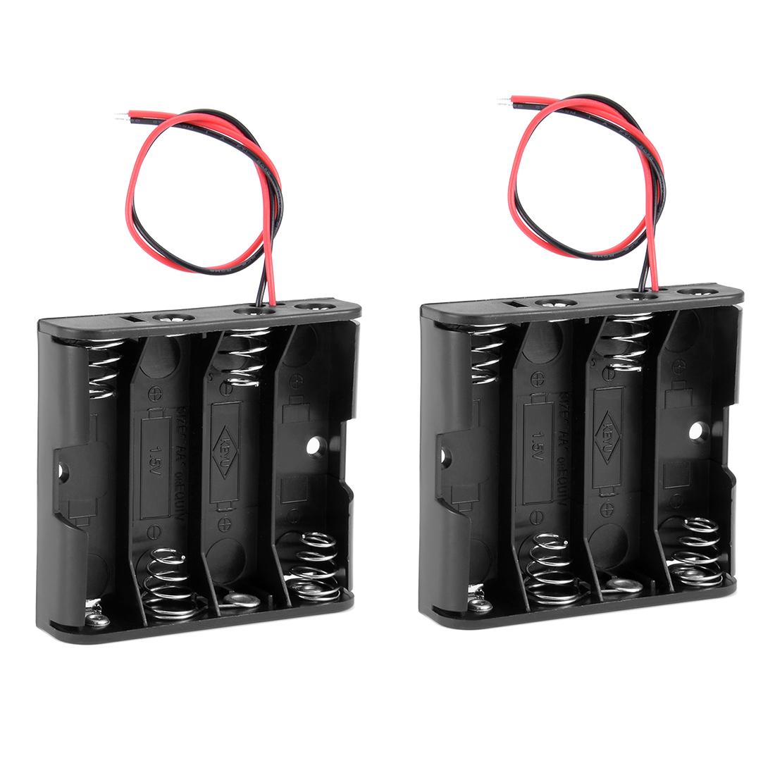 2Pcs Black 4 x 1.5V AA Battery Holder Storage Case Box w Wire Leads