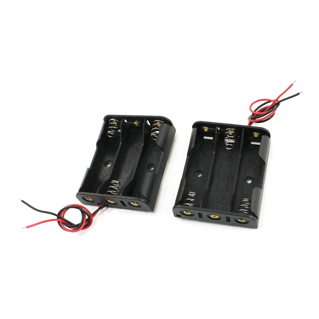 2PCS Battery Plastic Case Holder for 3x1.5V AA Batteries w Two Wires