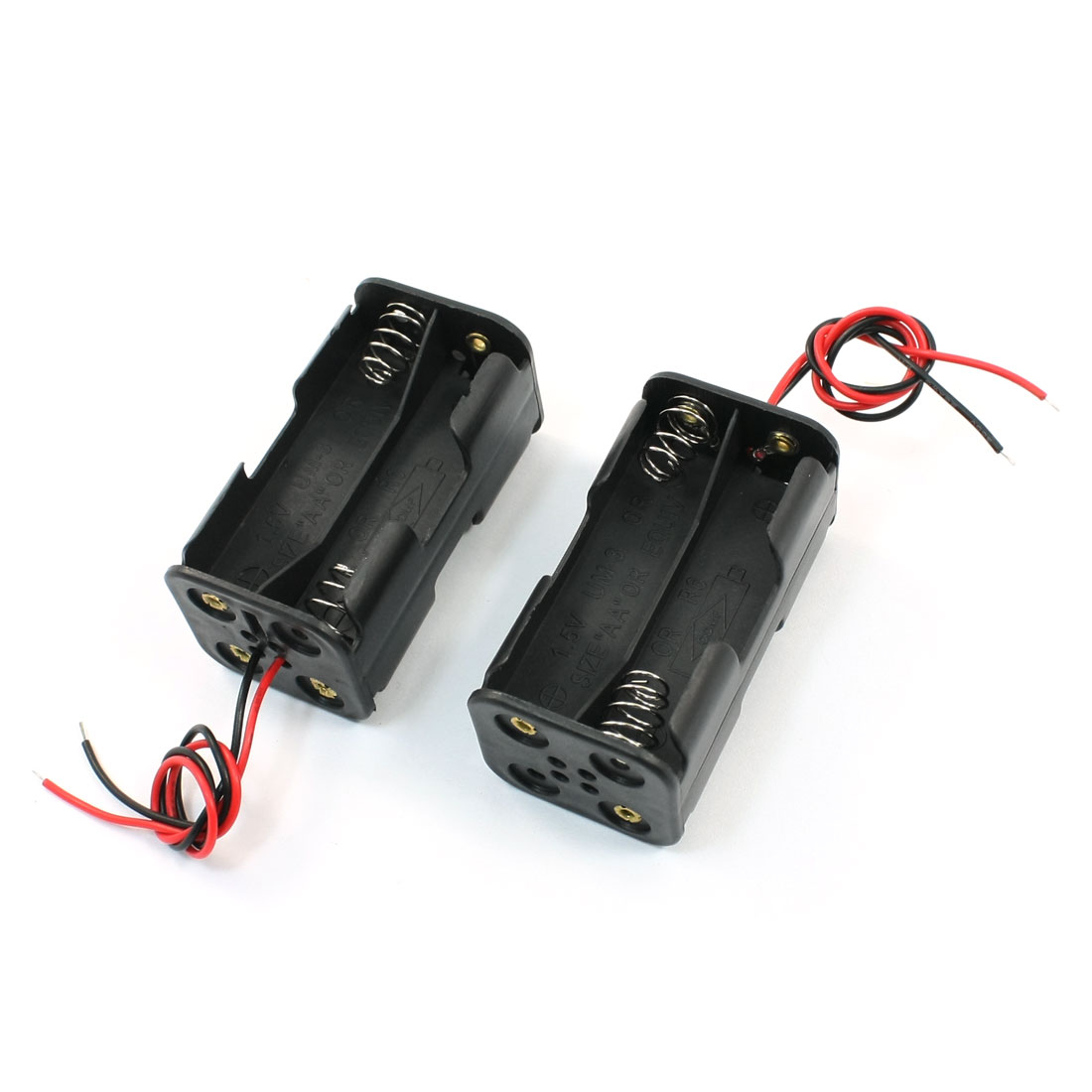 2Pcs Spring Clip Black Dual Layers Battery Storage Case Slot Holder 4 x 1.5V AA