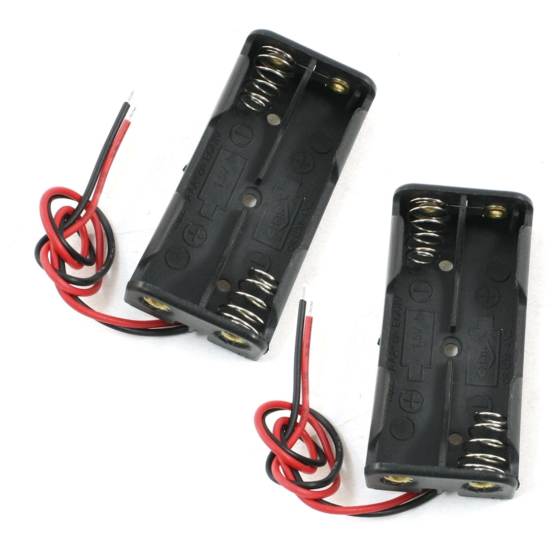2PCS Black 2 x 1.5V AAA Battery Batteries Holder Case w Wire Leads