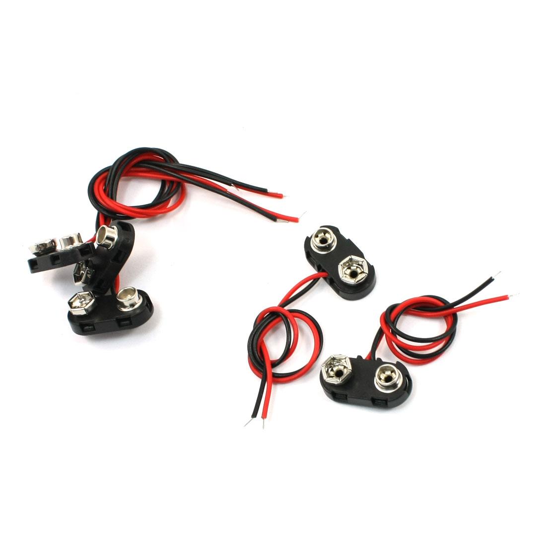 5 Pcs 15cm Double Wires 9V Batteries Clip Connectors Holder Black Red