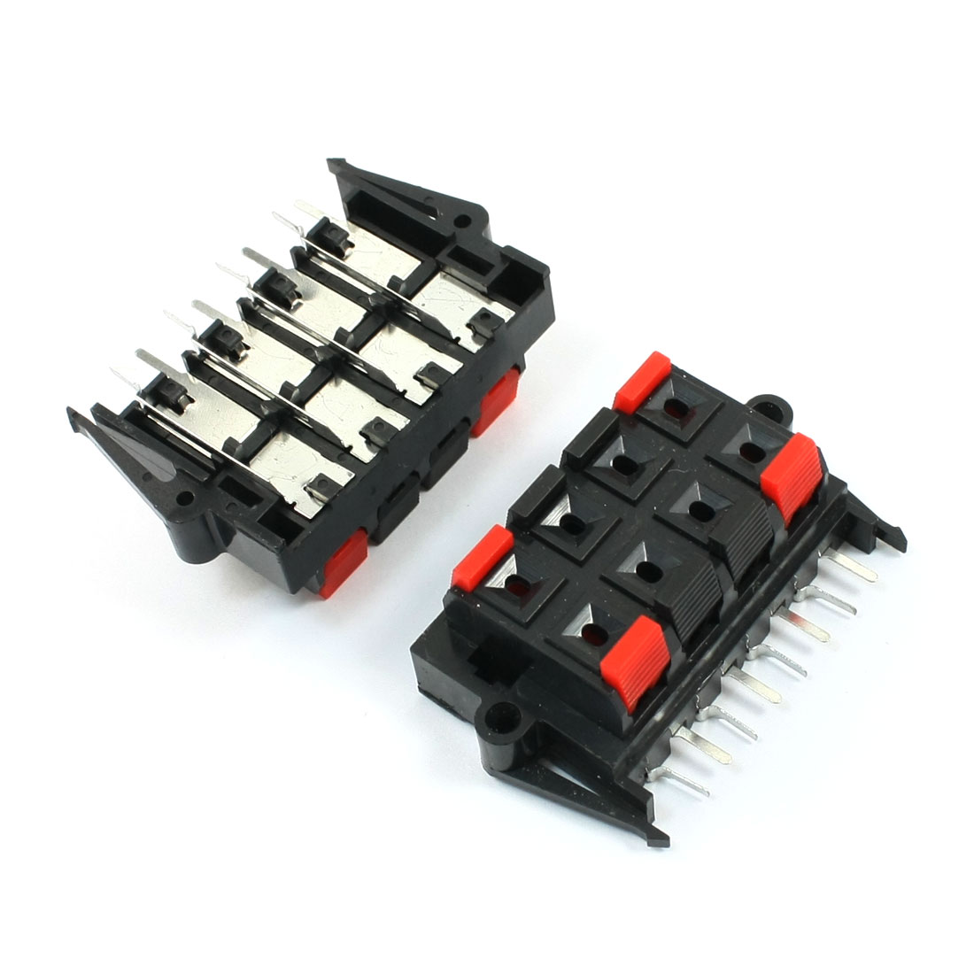 2pcs Red Black 8 Way Push Speaker Terminals Plate Release Connector 64x40mm