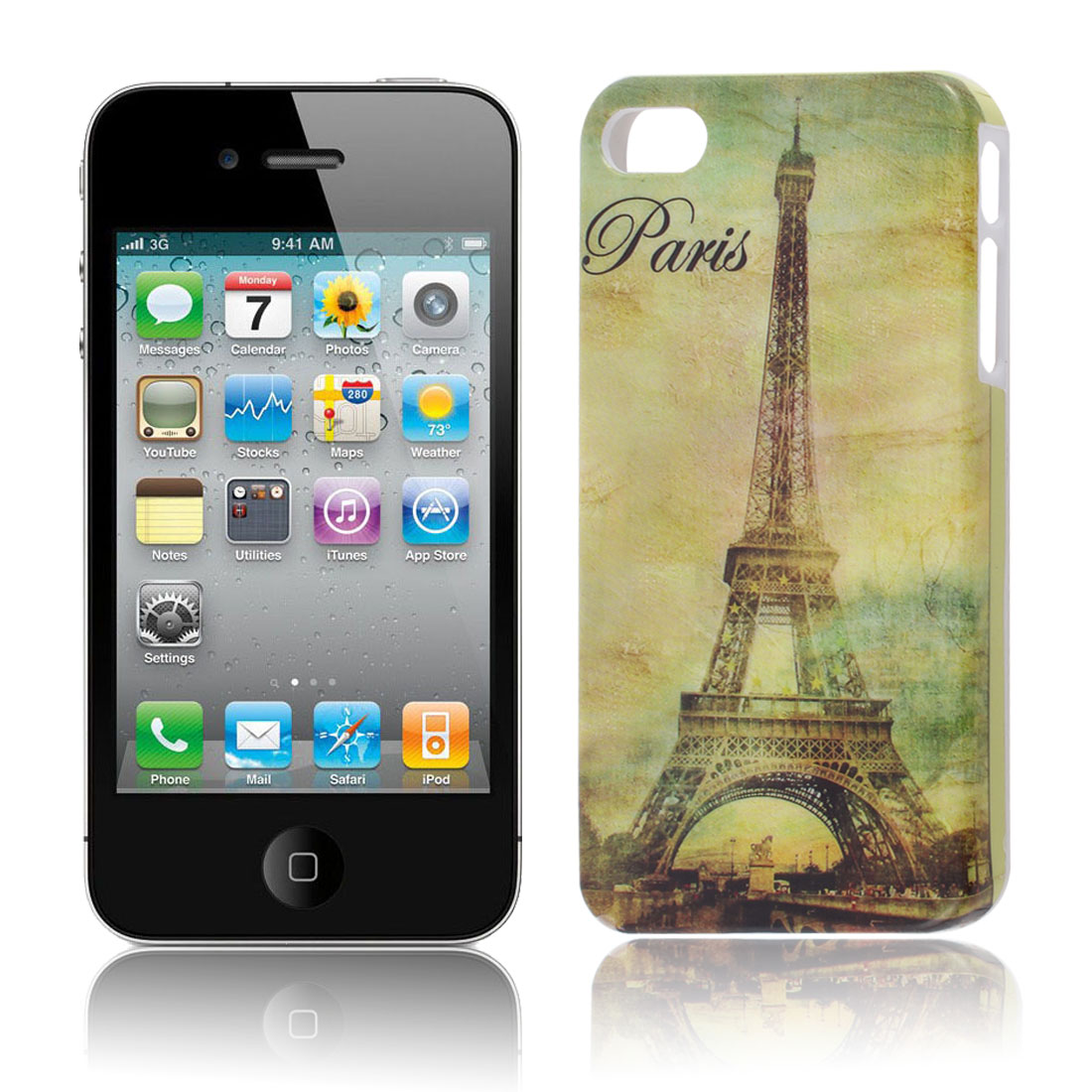 Eiffel Tower Pattern Hard Plastic Back Case Cover for Apple iPhone 4 4S 4G 4GS
