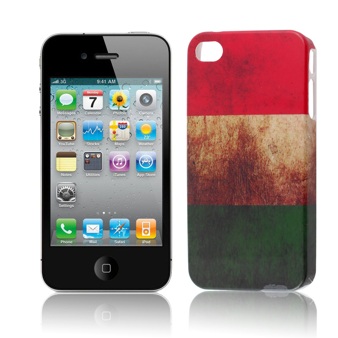 Hungary Flag Pattern Hard Platic Back Case Cover for iPhone 4 4S 4G