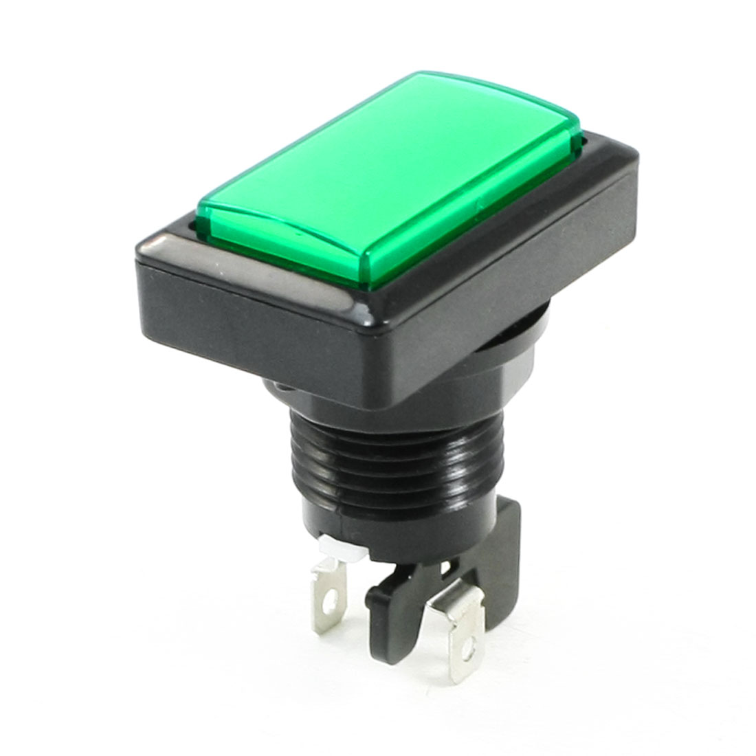 Momentary 2 Terminal SPST Green Rectangle Push Button Switch for Game Machine