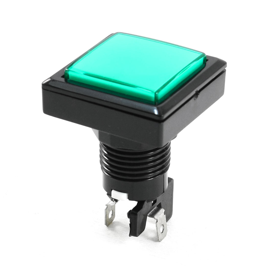 Panel Mounted SPST Momentary Game Green Square Switch Push Button