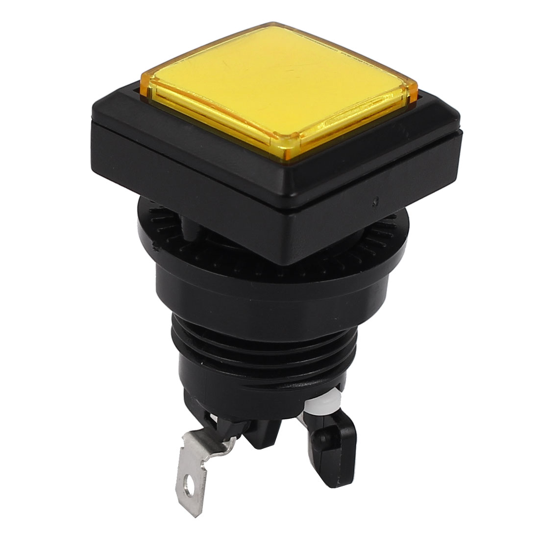 Momentary 2 Terminal SPST Yellow Square Push Button Switch for Game Machine
