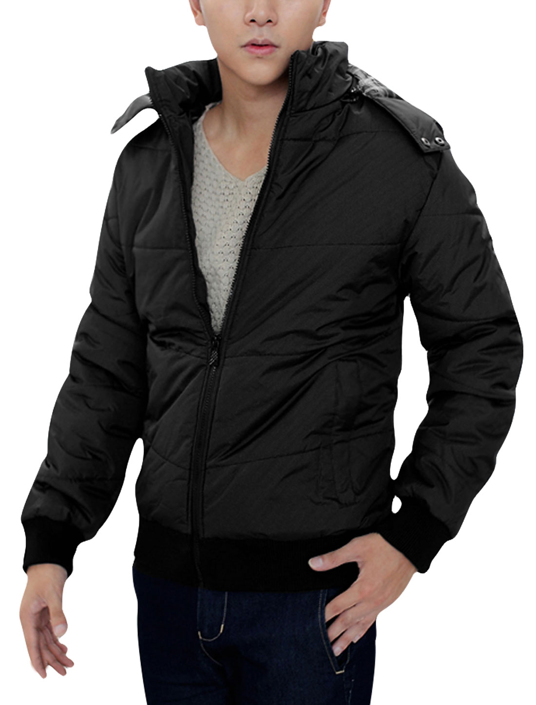 Fashion Black Zip Up Long Sleeve Winter Warm Padded Jacket for Man M