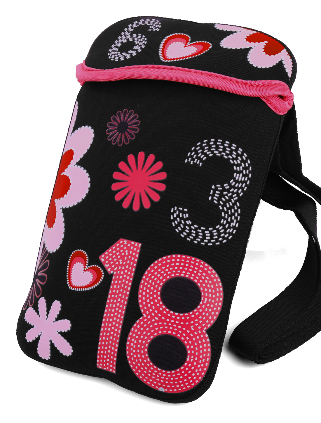 Girls Sweet Hearts Flower Prints Black Cross-Body Bag