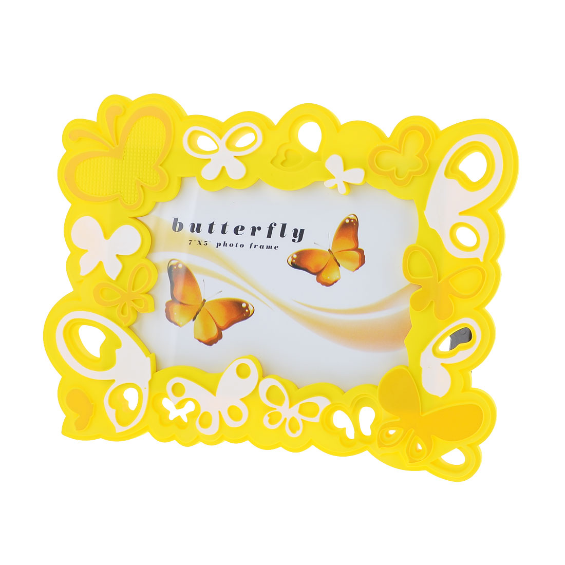 "6"" x 4"" Butterfly Pattern Vertical Desk Picture Frame Yellow"
