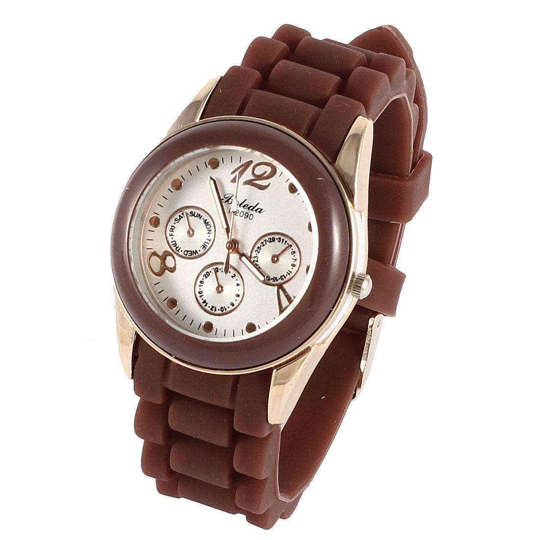 Woman 3.5cm Dia Dial Single Pin Buckle Silicone Wristband Quartz Watch Brown