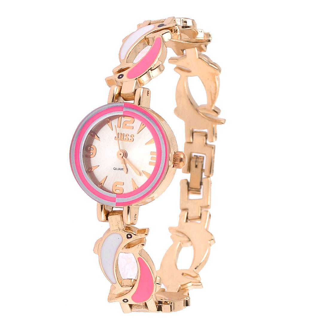 Hot Pink White Dolphin Accent Band Arabic Numerals Wrist Watch for Woman