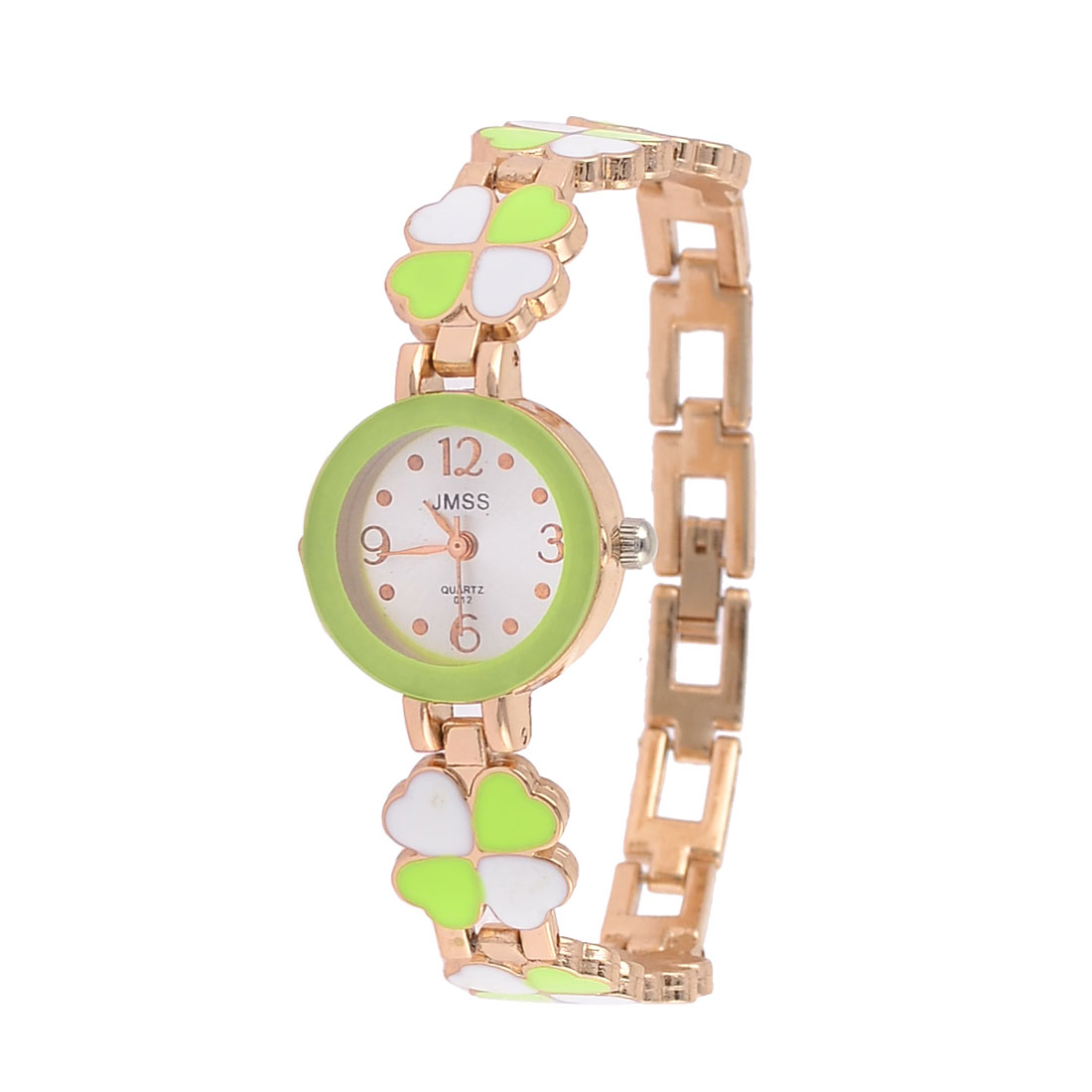 Ladies Clover Detail Band Round Dial Quartz Wrist Watch Yellow Green White