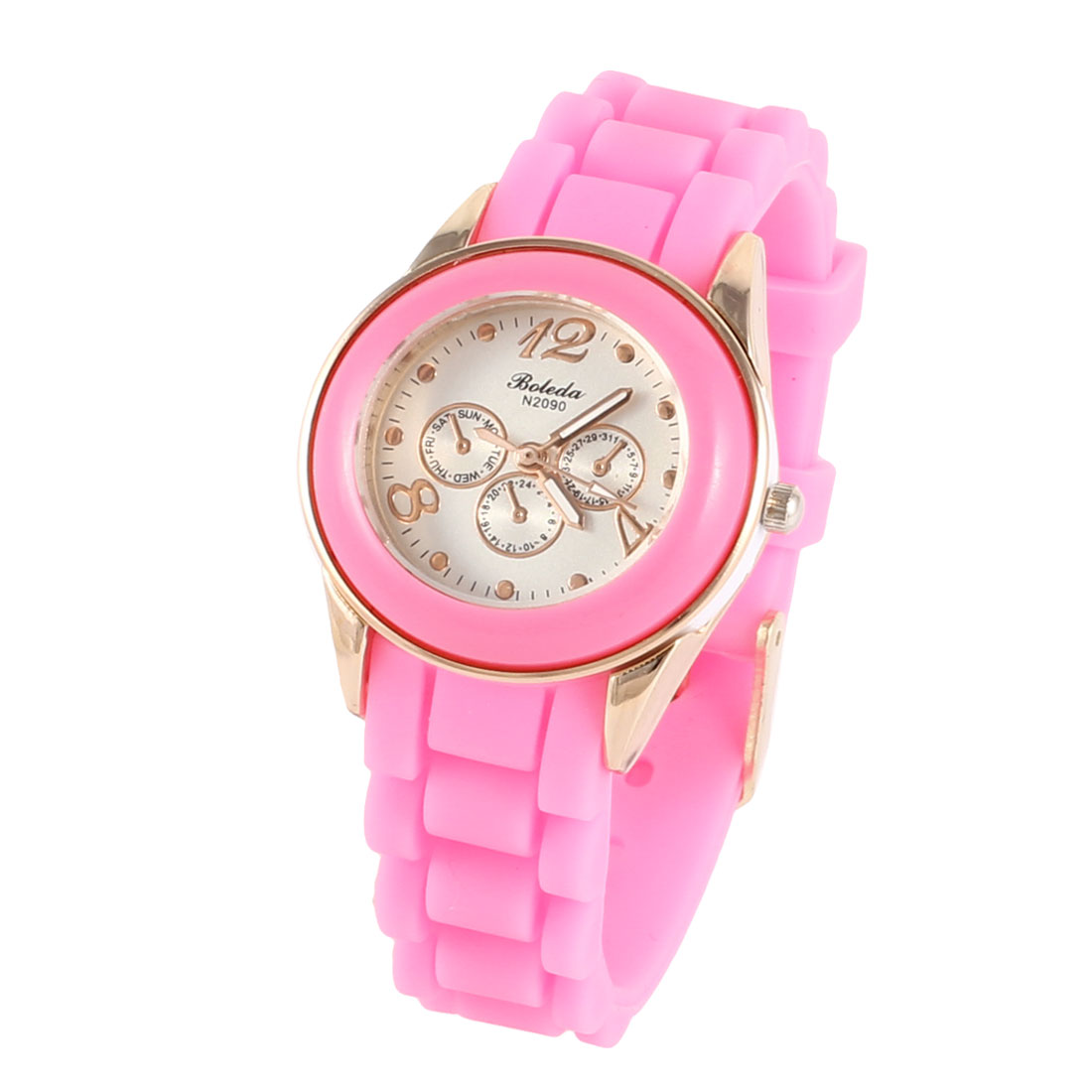 Woman 3.5cm Dia Dial Single Pin Buckle Silicone Wristband Quartz Watch Pink