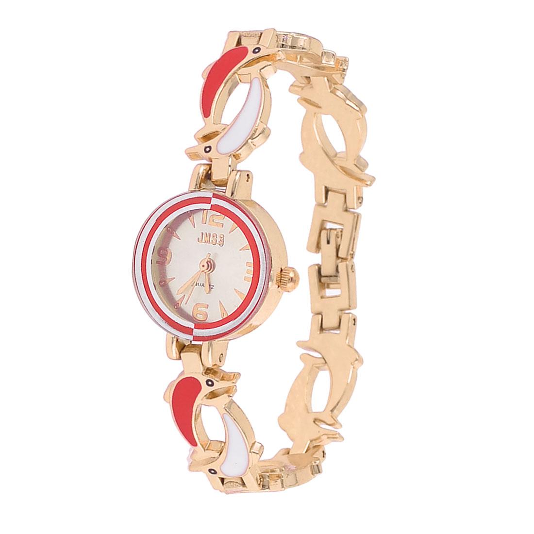 Ladies Dolphin Detail Wristband Round Dial Quartz Wrist Watch Red White