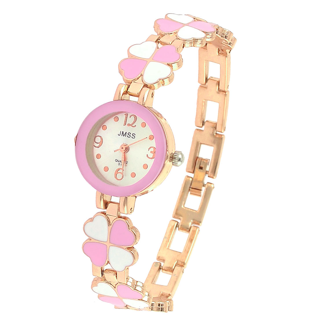 Wrist Ornament Pink White Metal Clover Detail Wristband Watch for Women