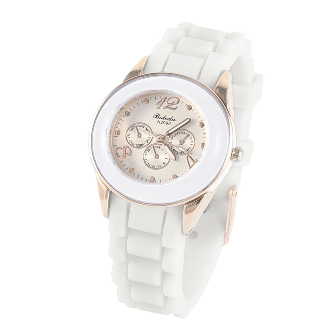 Woman 3.5cm Dia Dial Single Pin Buckle Silicone Wristband Quartz Watch White