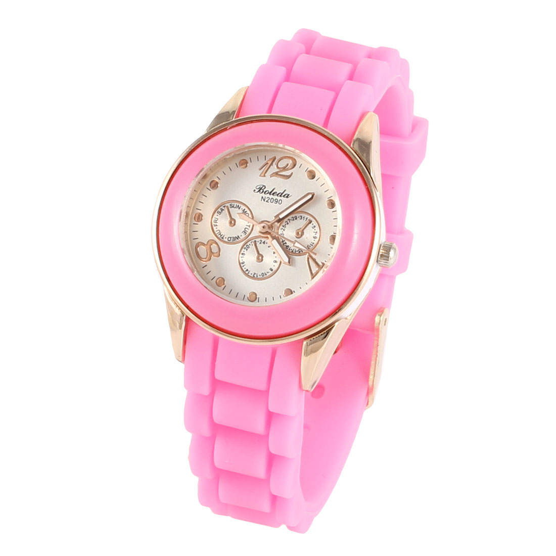 Woman 3cm Dia Dial Single Pin Buckle Silicone Wristband Quartz Watch Pink