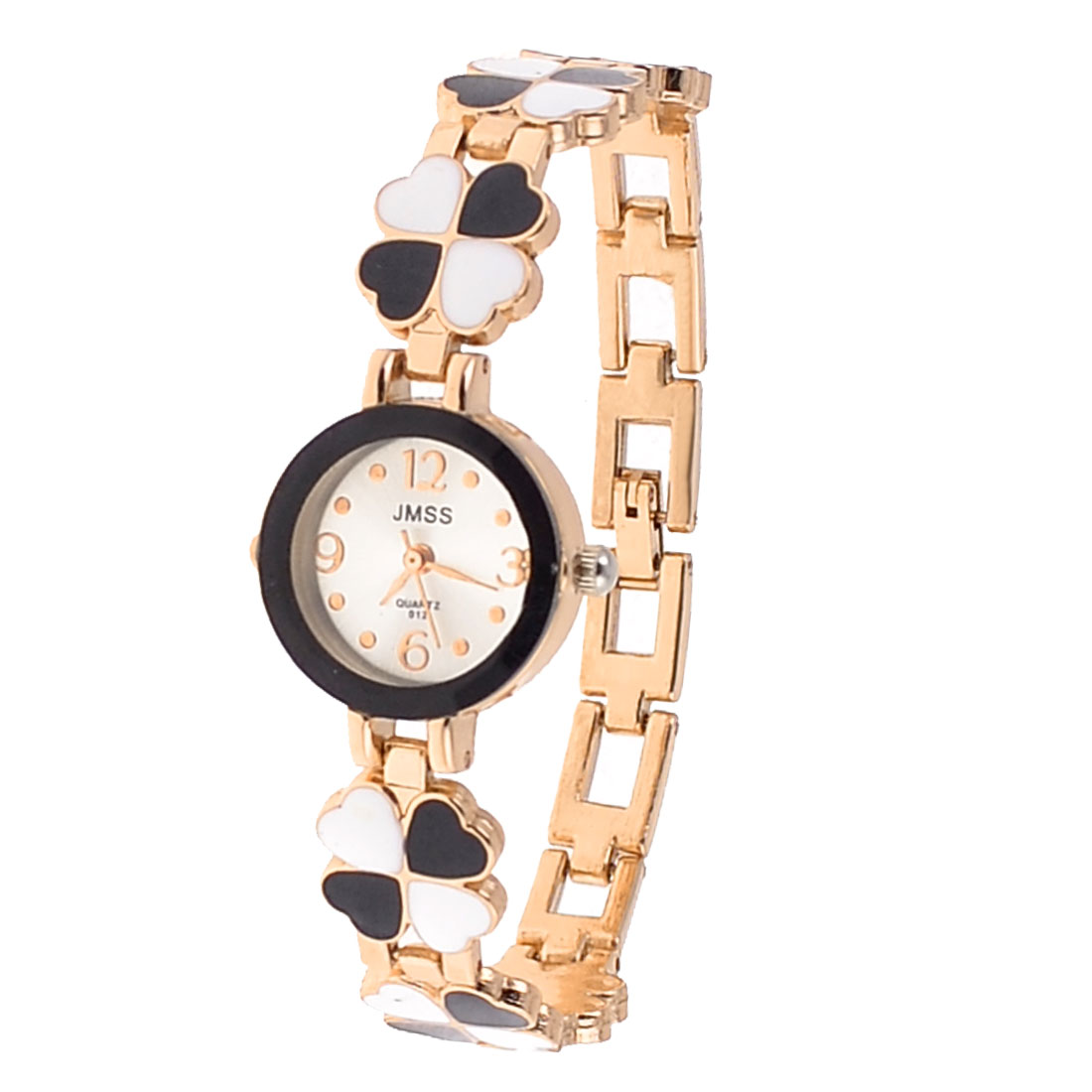 Black White Clover Detail Wrsitband Arabic Numerals Watch for Lady