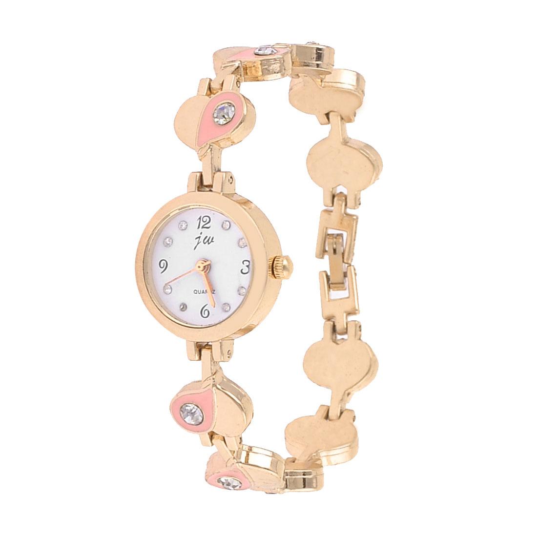 Women Rhinestones Inlaid Heart Chain Wristband Watch Copper Tone Pink