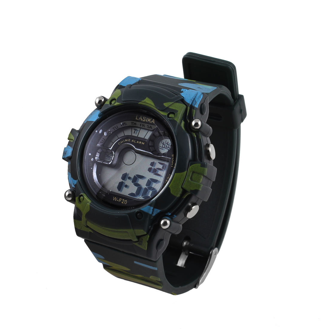Army Green Camouflage Pattern Round Dial Digital Display Sports Watch for Men