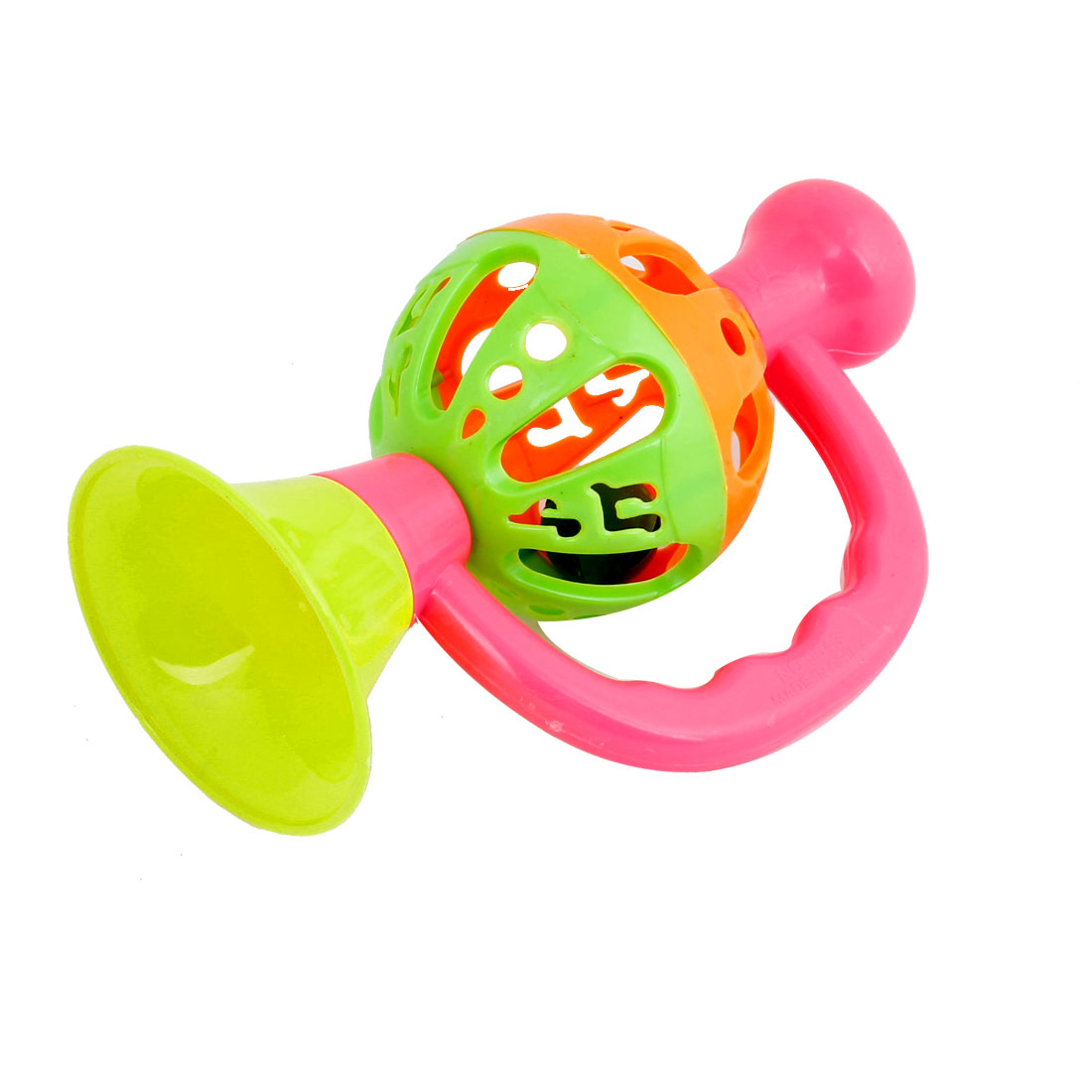 Toddler Jingle Bell Shaker Plastic Trumpet Shaped Toy Pink Yellow