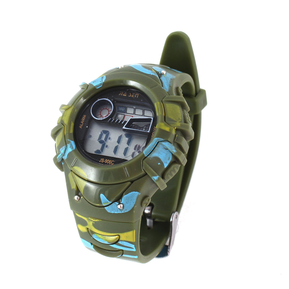 Women Army Green Camouflage Printed Second Hour Date Display Alarm Sports Watch