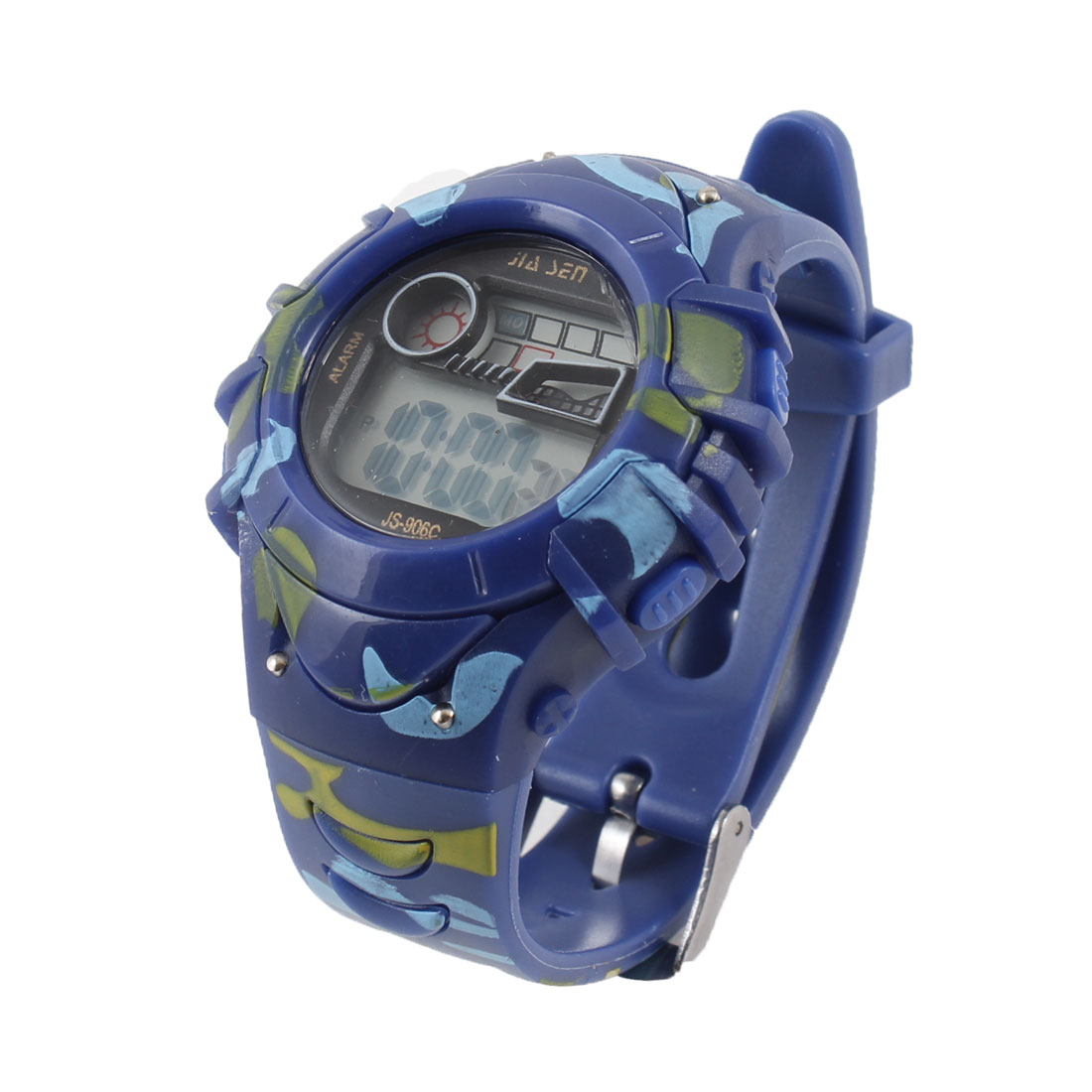 Girls Camouflage Print Cold Light Adjustable Digital Display Sports Watch Blue