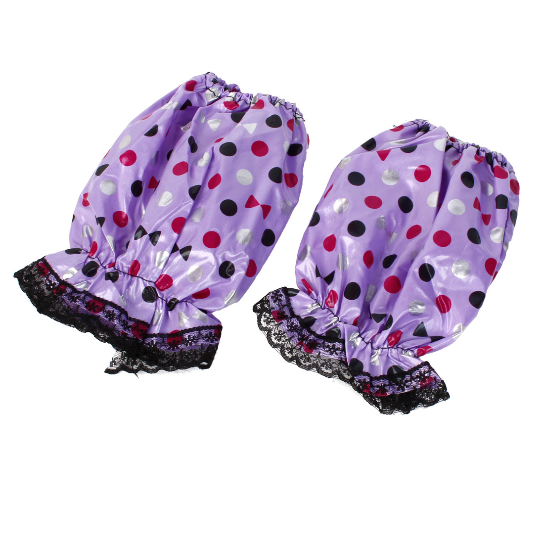 Girls Dots Pattern Sleeve Covering Short Oversleeves Lavender Color Pair