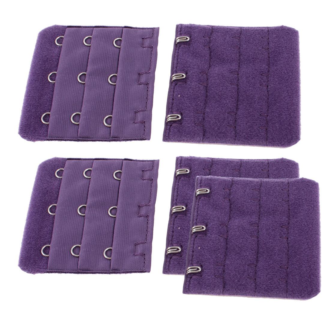 Women 3 Rows 3 Hooks Extension Bra Strap Extender Eggplant Color 5 Pcs