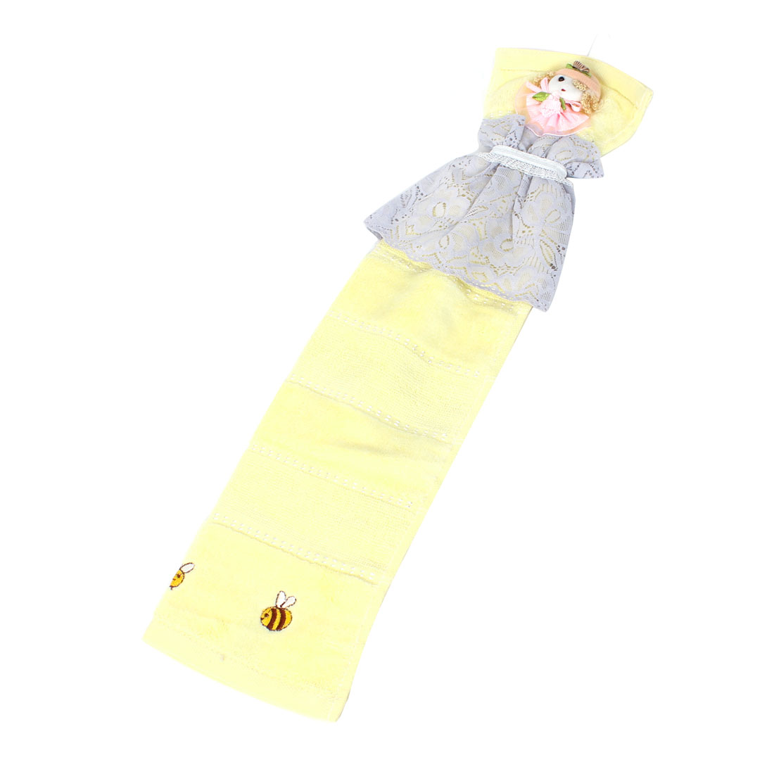 Light Yellow Cartoon Design Lace Accent Cleaning Hanging Hand Towel Washcloth