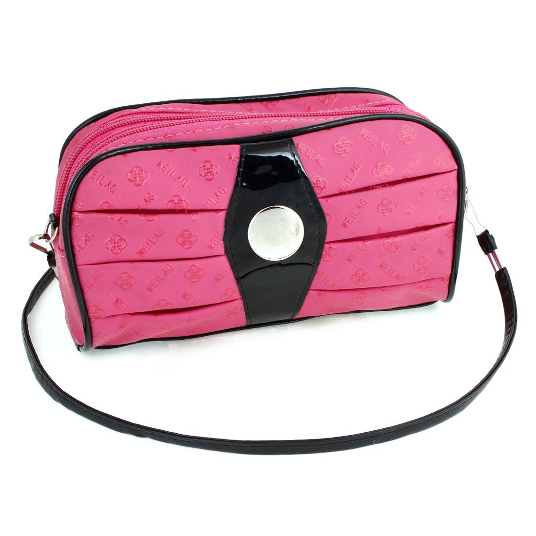 Lady Flower Letters Hot Pink Faux Leather Zipper Shoulder Strap Purse