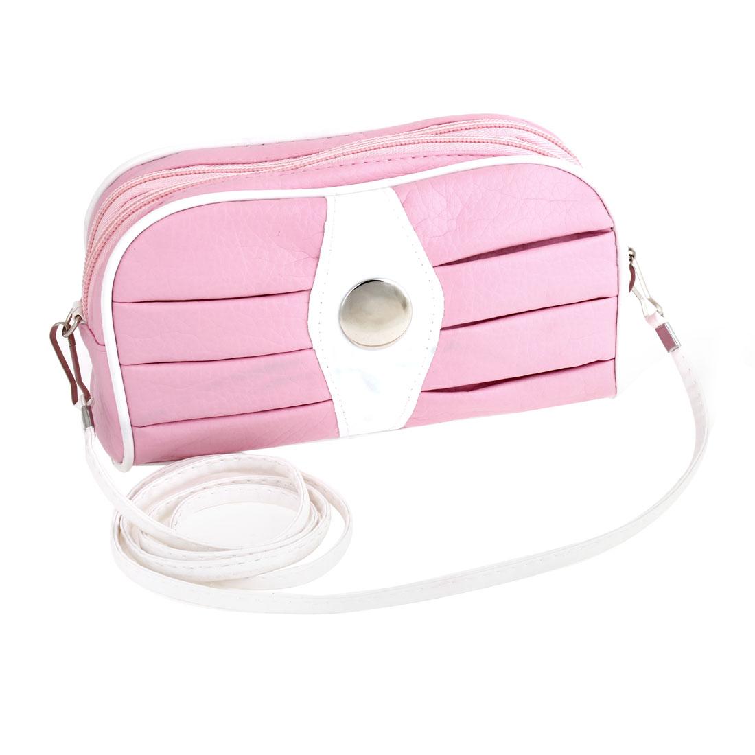 Woman 2 Pockets Zipper Closure Shoulder Strap Pink Faux Leather Purse