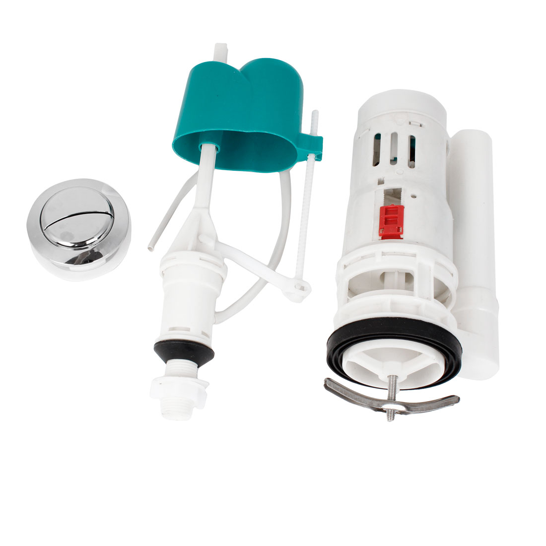 Household Flush Toilet Plastic Outlet Valve Push Button Cistern Fittings Set