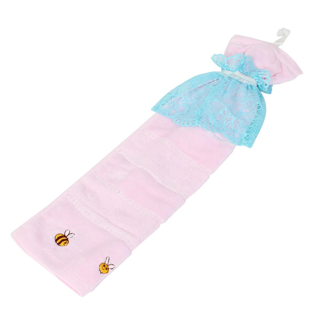 Kitchen Bathroom Cartoon Decor Lace Detail Absorbent Hand Towel Pink Blue