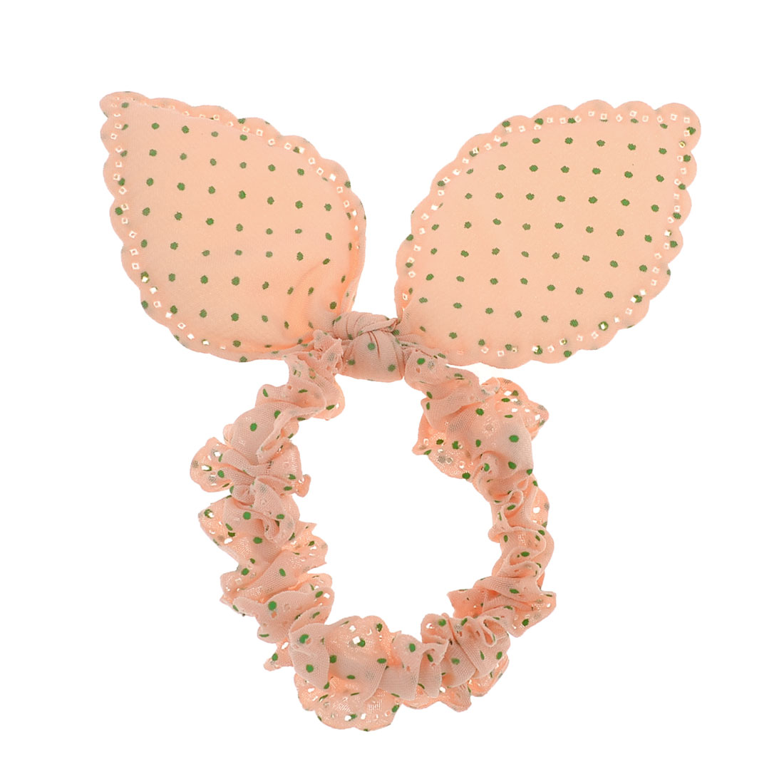 Green Dots Print Rabbit Ear Stretch Hair Tie Ponytail Holder Apricot for Girls
