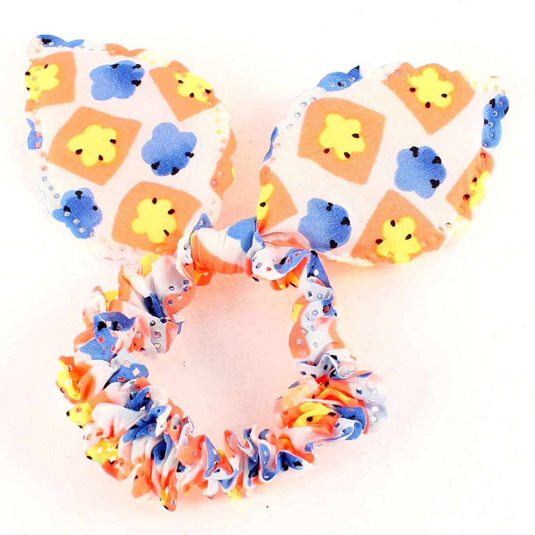Girls Colorful Chiffon Rabbit Ear Stretch Hair Tie Ponytail Holder
