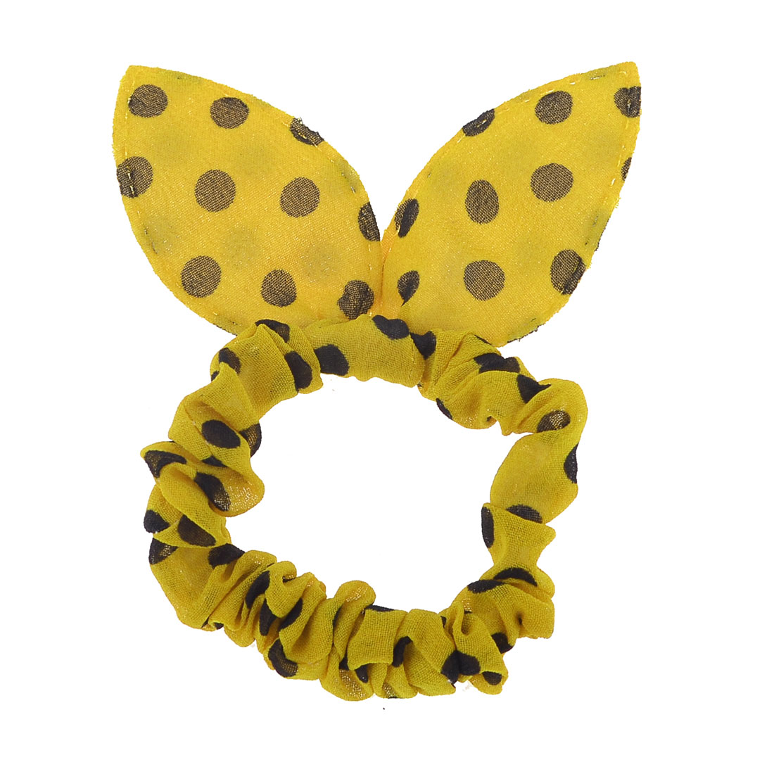 Girls Black Polka Dots Print Rabbit Ear Stretch Hair Tie Ponytail Holder Yellow