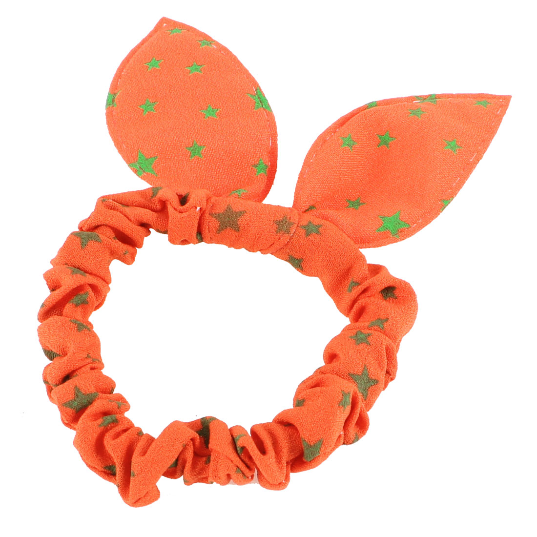Girls Green Stars Print Rabbit Ear Stretch Hair Tie Ponytail Holder Orange