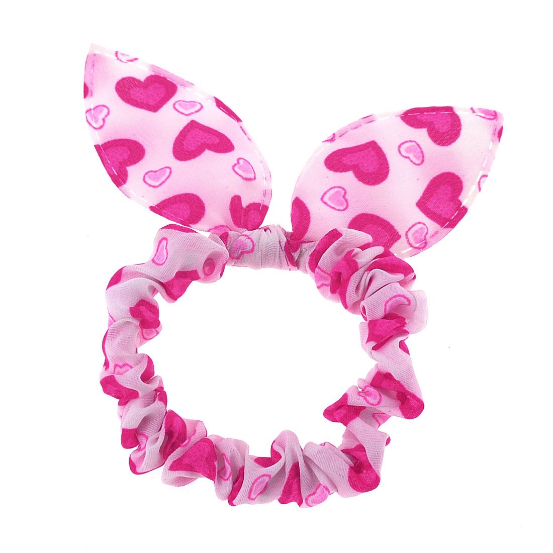 Fuchsia Hearts Print Rabbit Ear Stretch Hair Tie Ponytail Holder White for Girls