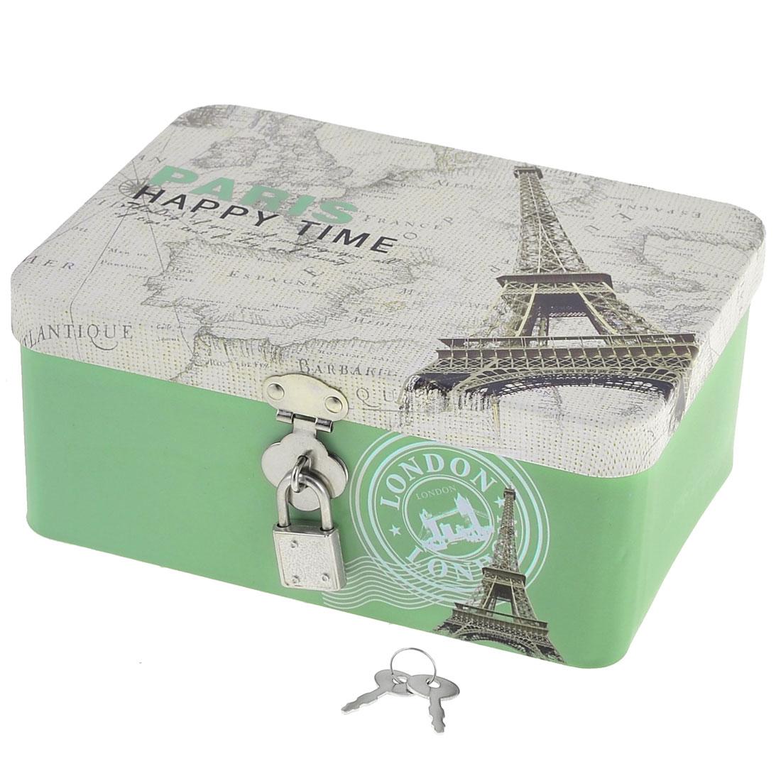 Household Eiffel Tower Printed Metal Cosmetic Jewelry Storage Box Holder White Green