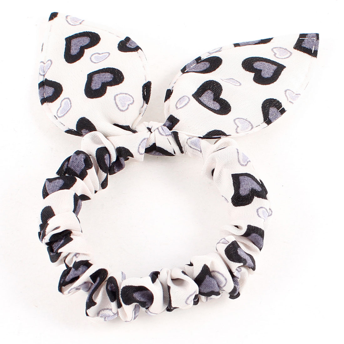 Girls Black Hearts Print Rabbit Ear Stretch Hair Tie Ponytail Holder White