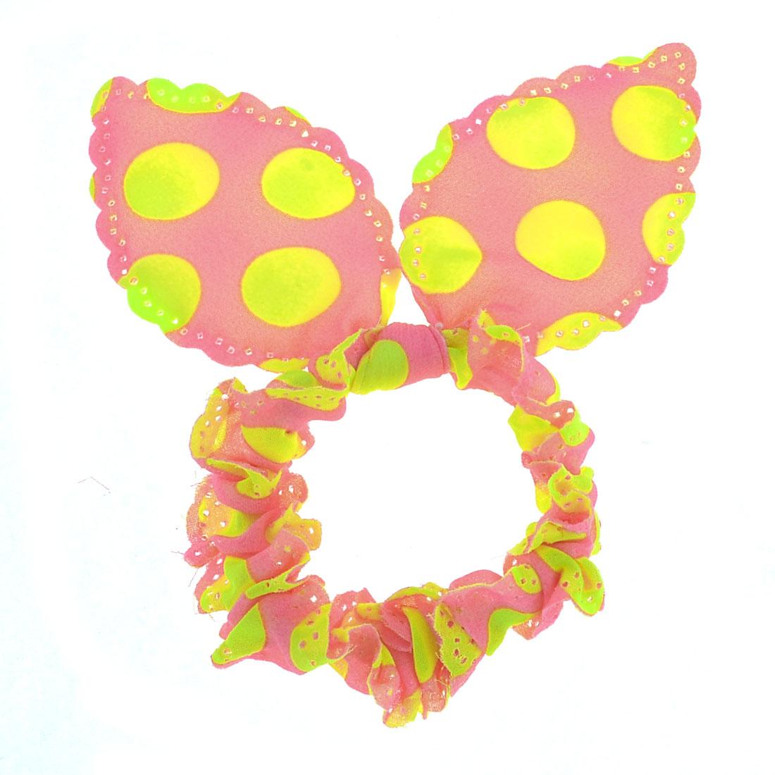 Women Fluorescent Yellow Dots Print Rabbit Ear Style Elastic Band Hair Tie Pink