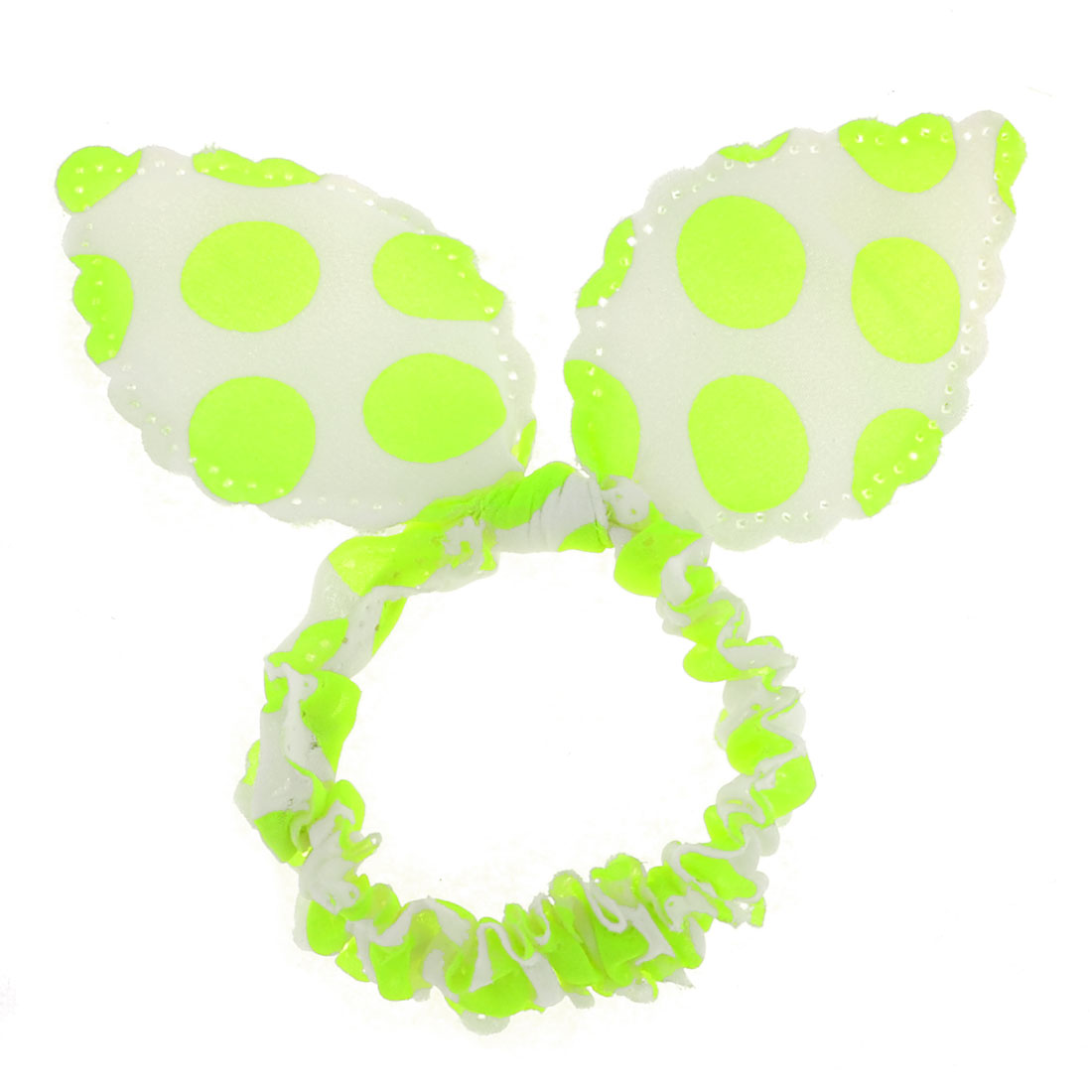 Rabbit Ear Shape Stretchy Band Ponytail Holder Fluorescent Green White for Lady