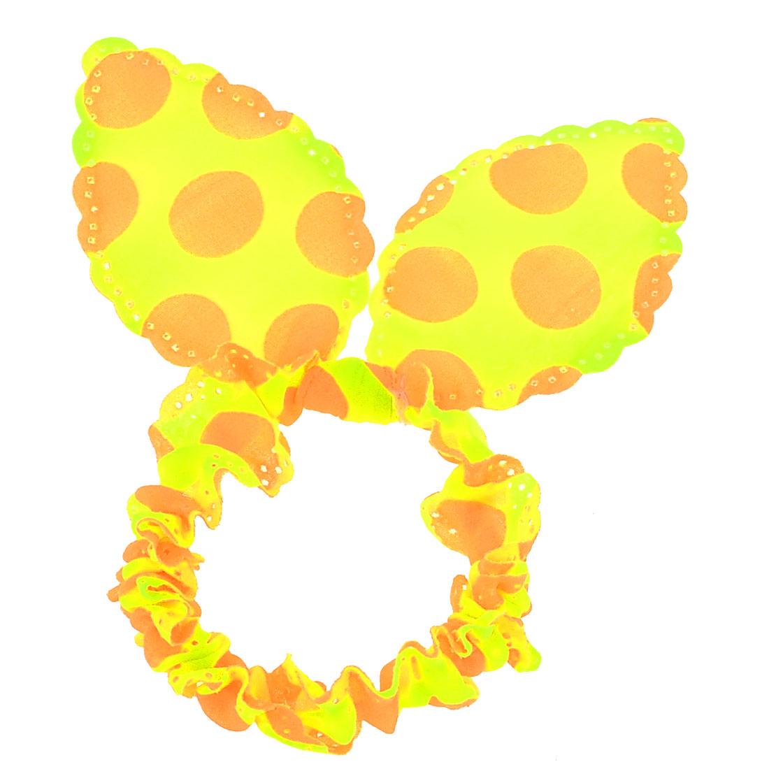 Girl Orange Dots Pattern Rabbit Ear Hair Tie Ponytail Holder Fluorescent Yellow