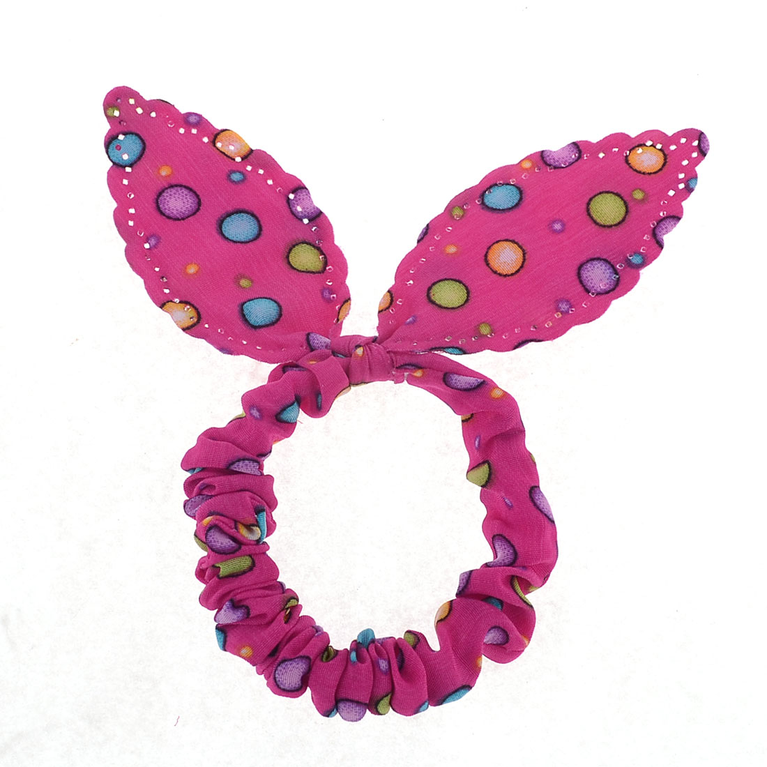 Rabbit Ear Shape Stretchy Band Ponytail Holder Head Ornament Fuchsia for Women
